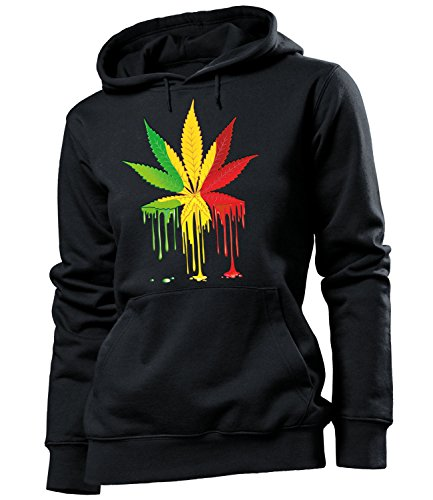 Golebros Reggae Blatt 5340 Damen Frauen Hoodie Herren Kapuzen Pullover Sweatshirt Pulli Gras Cannabis Drogen Geschenk Artikel Marihuana Drug Dope Kiffer L