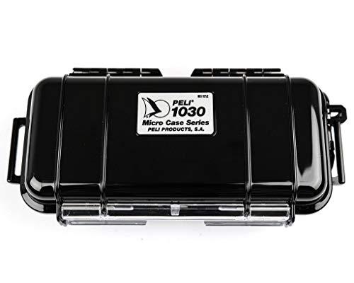 PELI 1030 valise micro étanche pour petits objets personnels, IP67 étanche à l'eau et à la poussière, capacité de 0,6L, fabriquée aux États-Unis, doublure noire/noire