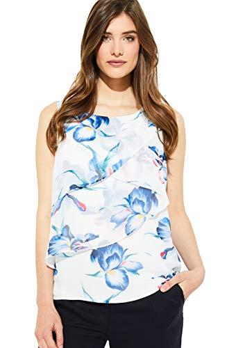 comma Damen 81.905.13.2229 Bluse, Mehrfarbig (White Floral Print 01c3), (Herstellergröße: 34)