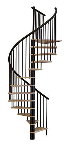Huso escalera/ahorro de espacio escalera/escalera de caracol Sidney decor negro DM 160 cm