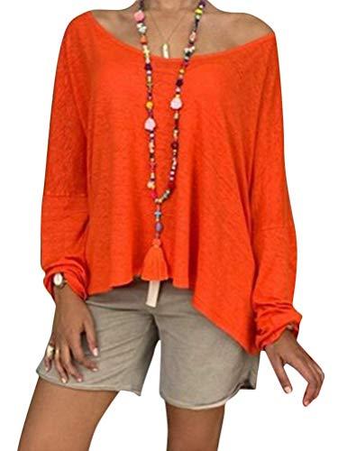 Minetom Donna Camicetta Manica Lunga Sciolto Tunica Tops Estate Taglie Forti Camicie Maglietta Casual Shirt Sciolto Oversize Scollo a V Top A Arancione 52