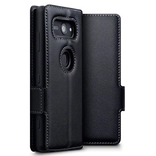 TERRAPIN, Kompatibel mit Sony Xperia XZ2 Compact Hülle, ECHT Leder Börsen Tasche - Ultra Slim Fit - Betrachtungsstand - Kartenschlitze - Schwarz