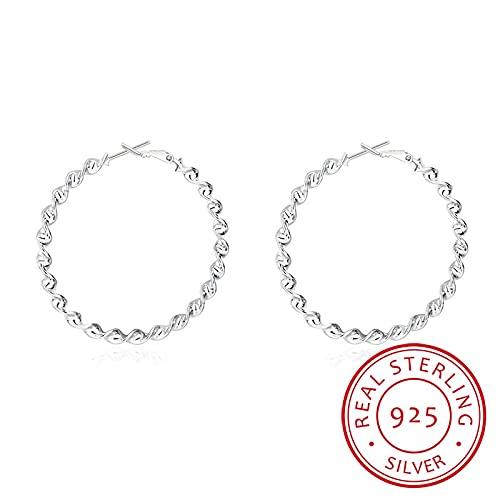 Pendientes redondos de plata de ley 925 para mujer Pendiente de aro de perforación con giro circular grande