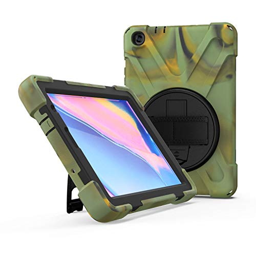 JZ 360 Degrees Kickstand Case Cover Compatible with Samsung Galaxy Tab S5e 10.5 2019 (SM-T720,T725,T727) Stand Case with Wrist Strap and Shoulder Strap - Camouflage