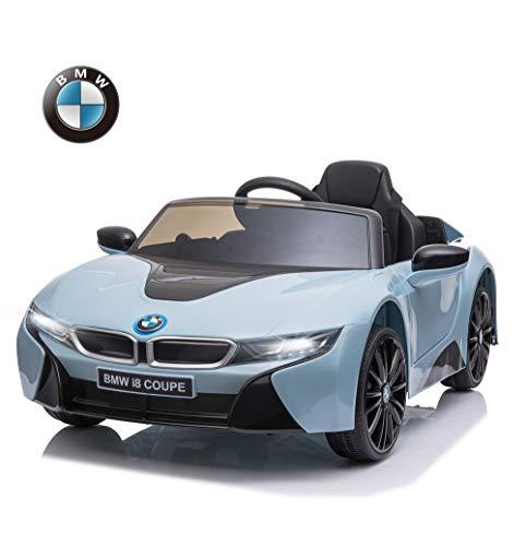 HOMCOM Coche Eléctrico BMW I8 Coupe con Licencia para Niños de +3 Años Batería 6V Control Remoto y Manual con Música MP3 Bocina y Faros 115x72,5x46 cm Azul