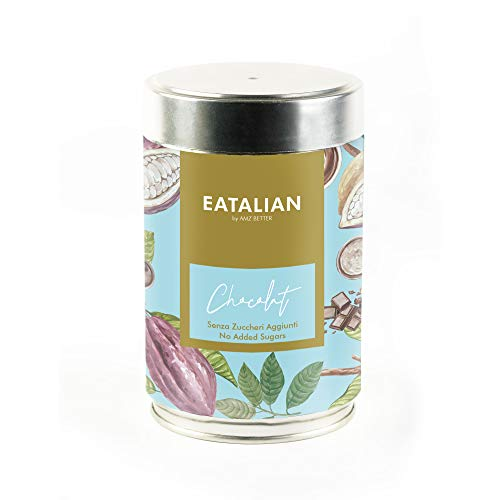 EATALIAN Sugar Free Chocolate, Powder Mix for Hot Chocolate Sugar Free, Jar of 400 g, Made in Italy, Gluten Free, No Colorants, No Aromas and Hydrogenated Fats, Vegan