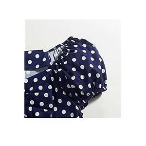 Women Vintage 1950s Party Top Polka Dots Rockabilly 40s Cotton Shirts Darkblue S