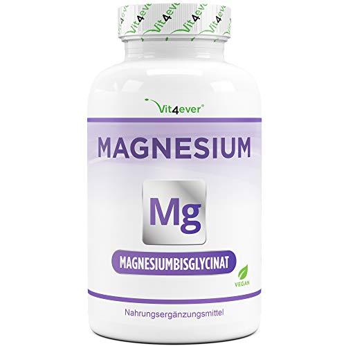 Magnesiumbisglycinat - 240 Kapseln - Premium: Chelatiertes Magnesium - 155 mg elementares Magnesium pro Kapsel - Laborgeprüft - Vegan - Hochdosiert