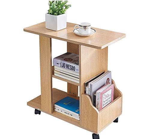 KMAYA サイドテーブル 可移動デスク キャスター付き おしゃれ ベッドサイドテーブル コの字型デザイン 実用的 二段収納棚 付きテーブル 品質保証 (チーク)