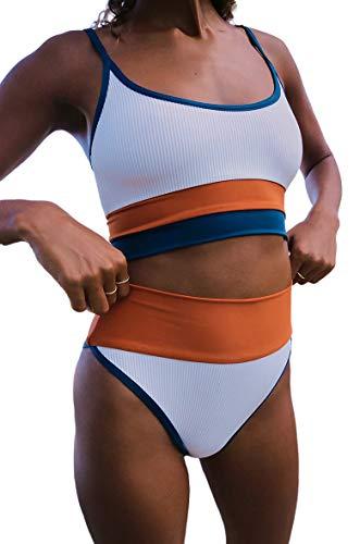 Traje De Baño para Mujer Color Block Push Up Bañador de Cintura Alta a Rayas con Control de Abdomen Conjuntos de Bikini de Dos Piezas