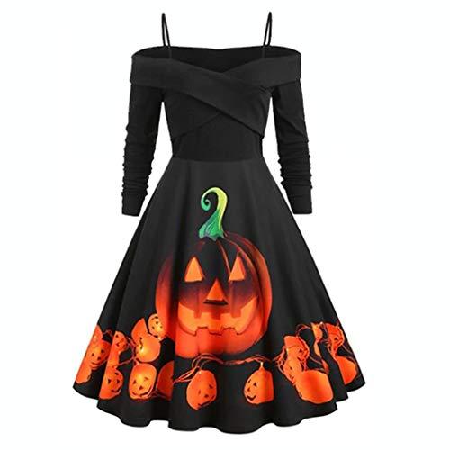 Vectry Damen Kleider, Halloween Kostüme Mode Cosplay Kostüm Langarm Abendkleider Cocktailkleid...