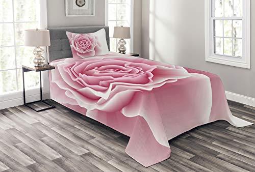 ABAKUHAUS Bleekroze Bedsprei, Rozenblaadjes Beauty, Decoratieve Gewatteerde 2-delige Spreiset met 1 Kussensloop, 170 x 220 cm, Pale Pink White