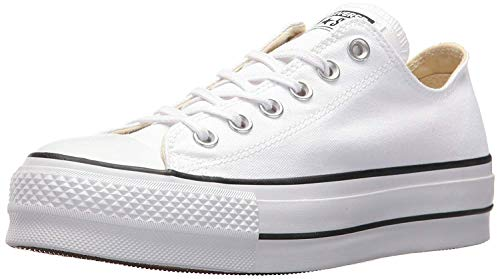 Converse Chuck Taylor CTAS Lift Ox Canvas, Zapatillas Mujer, Blanco White Black White 102, 41 EU