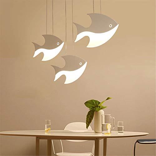 LHY LOFT Lamparas de Techo de Pescado LED, lámpara de Colgante de la decoración Creativa de la araña de la Moda Simple para el Restaurante del Dormitorio,Dimmable,3 Fish