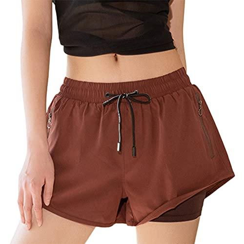DELIMALI Pantalones cortos respirables de doble capa para mujer, verano color sólido/estampado de leopardo al aire libre deportes pantalones cortos, Rojo café., L