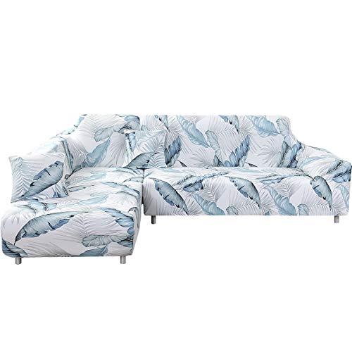 ele ELEOPTION - Funda de sofá elástica, Conjunto de 2 Fundas, para sofá de 3 Personas en Forma de L, Incluye 2 Fundas de cojín, Hojas Blancas