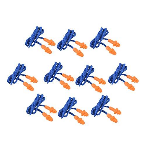 Beauneo 10 Piezas De Tapones De Oídos Suaves De Silicona De Seguridad - Protectores Auditivos, Manguitos con Cable - Reducción De Ruido Para El Trabajo en Casa Para Dormir Azul Naranja