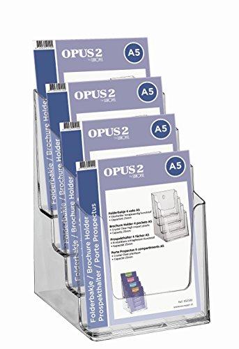 OPUS 2 350100 - Porta-folletos de sobremesa, poliestireno reciclable, con 4 compartimentos, para A5