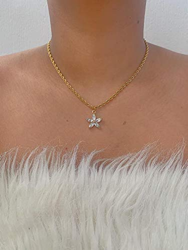 Vintage Style Gold Stainless Steel Rope Crystal Flower Floral Rhinestone Pendant Chain Necklace