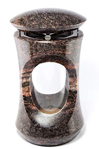 Afterglow Massive Grablampe Deluxe aus echtem Granit Granit Himalaya Höhe 26 cm/Ø 15 cm cm Grableuchte Grablicht Grablampe Granitlampe Granitlaterne Bronze mit Sockel Grabschmuck