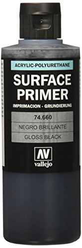 Vallejo 074660 Grundierung, Spiel, glänzend, schwarz, 200 ml