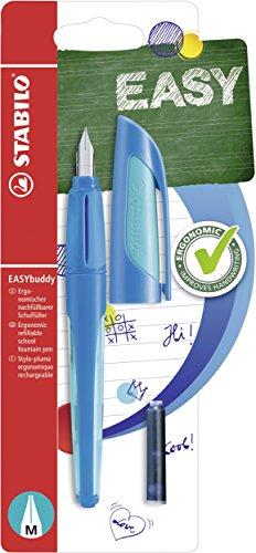 Schulfüller mit Standard-Feder M - STABILO EASYbuddy in dunkelblau/hellblau - Schreibfarbe blau (löschbar) - Einzelstift - inklusive Patrone
