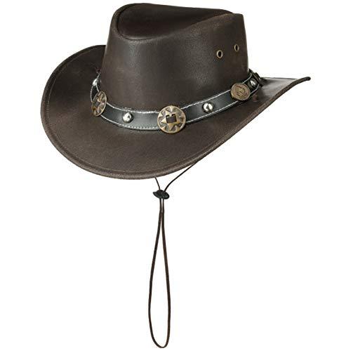 Scippis Concho Lederhut Classic Cowboyhut Australienhut (S/54-55 - braun)
