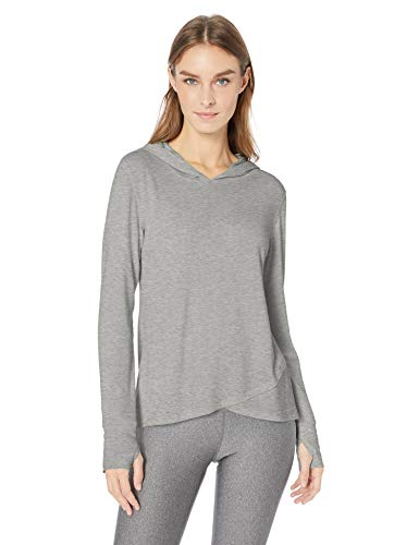 Amazon Essentials Women's Studio Long-Sleeve Lightweight Cross-Front Hoodie, -medium grey heather, Medium