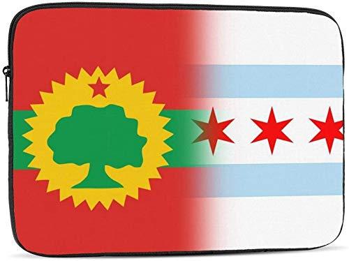 Flag of The Oromo Liberation Front & Armenia Funda para computadora portátil Compatible con 10-17 pulgadas Fashion Computer Bag Laptop Case-Flag Of The Oromo Liberation Front & Chicago, 17 pulgadas