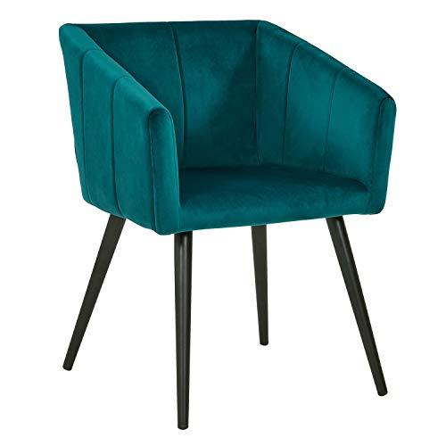 Duhome Esszimmerstuhl aus Stoff (Samt) Petrol Blau Grün Farbauswahl Retro Design Stuhl mit Rückenlehne Sessel Metallbeine 8065