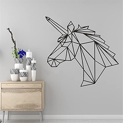 Unicornio calcomanías de pared geométricas transferencia de avión pegatinas de arte decoración de la habitación de los niños pegatinas de fondo de pared murales A8 57x55cm