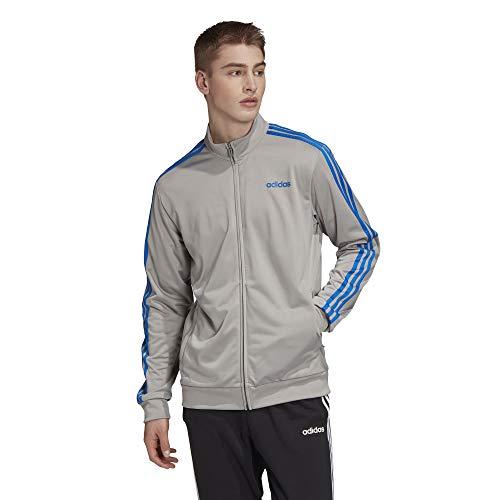 adidas Men's Essentials 3-stripes Tricot Track Jacket, MGH Solid Grey/Glory Blue, L