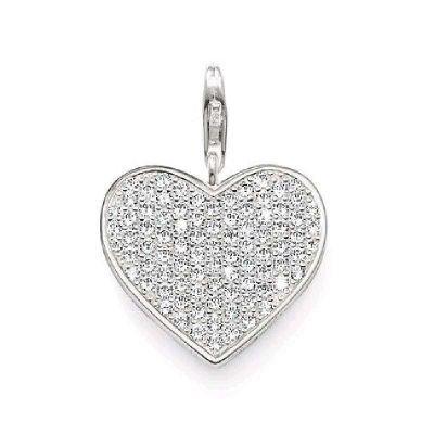 Thomas Sabo Herz Charm Anhänger Silber mit weißem Zirkonia klein T0250-051-14