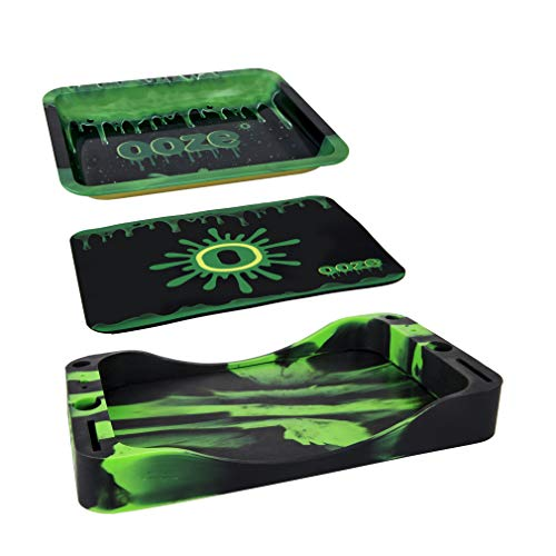 Ooze Life Rolling Tray Bundle - 3-in-1 Rolling Tray Set - Metal Rolling Tray - Silicone Rolling Tray