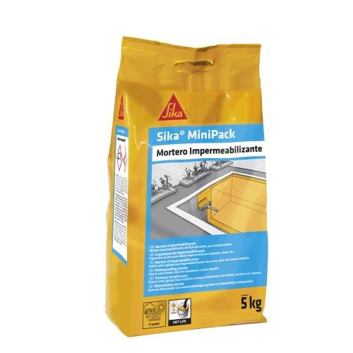 Sika MiniPack Mortero Impermeabilizante, para la impermeabilización y protección de cimentaciones, sótanos, fosos de ascensor y muros enterrados, Gris, 5 kg