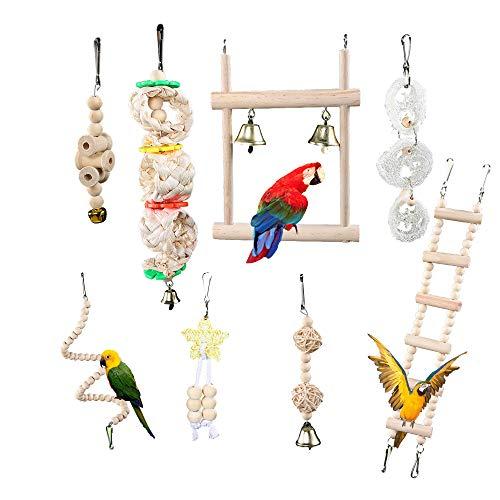 DXIA 8 Piezas Juguetes para Pájaros, Pájaros Juguetes con Juguete de Masticación y Columpios de Perchas Usado, Escalera de Madera, Columpios, para Decoracion de Pajarera y Campana Colgante Hamaca