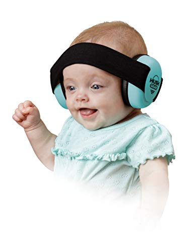 Hush Gear Baby Noise Cancelling Headphones for Babies Infant Ear Protection - 28.6db Sound Reduction Baby Ear Protection Ear Muffs - Adjustable Elastic Headband for Secure Comfortable Fit, Blue