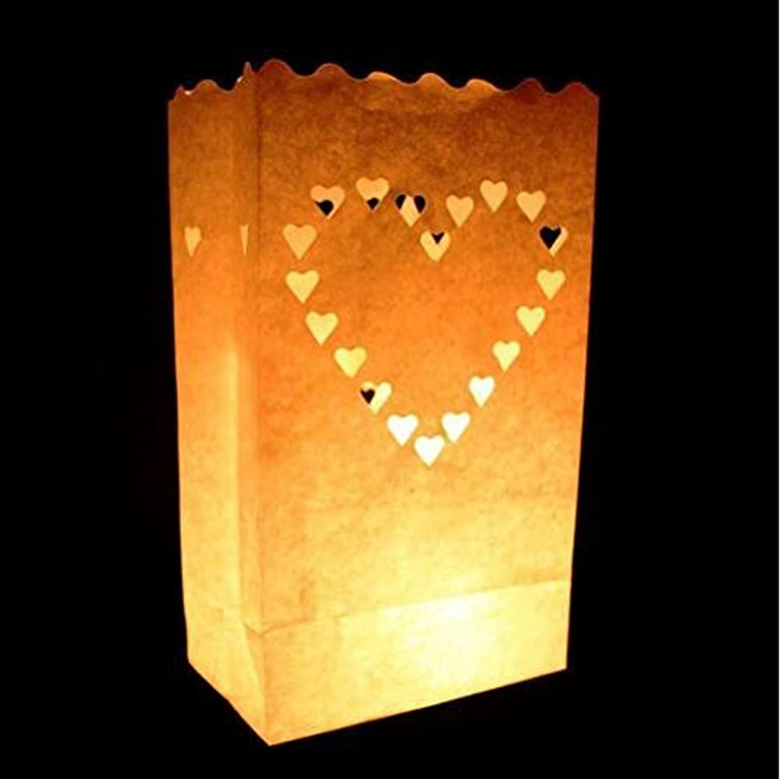 Since White Luminary Bags - 20 Count - Big Heart Design - Wedding, Reception, Party and Event Decor - Flame Resistant Paper - Luminaria (Big Heart)