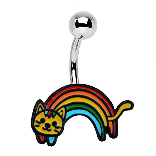 Jewseen 14g Cat Belly Button Rings Rainbow Enamel Navel Rings 316L Surgical Steel Belly Rings for Women Body Piercing