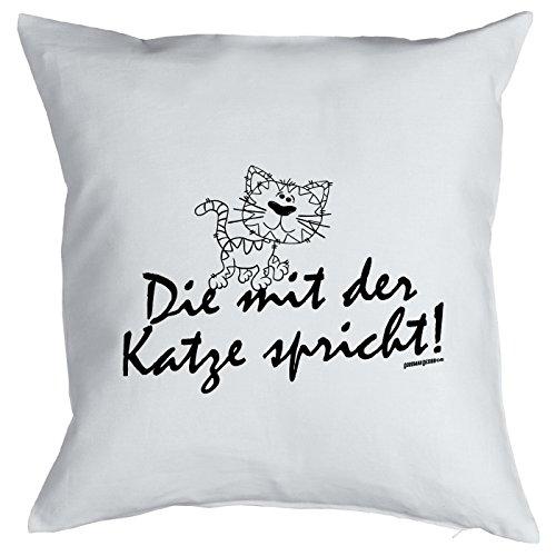 Kussen met grappig diermotief - die met de kat spreekt! - Cadeau voor echte dierliefhebbers - sierkussen - bankkussen