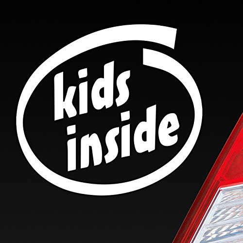Auto Aufkleber in deiner Wunschfarbe Kids Inside Intel Baby an Bord Kind 10x9 cm Autoaufkleber Sticker Folie