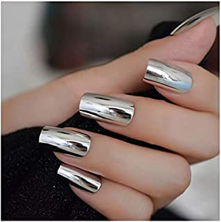 VIKSON INTERNATIONAL 24 Pcs Silver Chrome Mirror Finish French Tip Artificial Nail Extension Ready Made All Size Nails With 2 gm Nail Glue