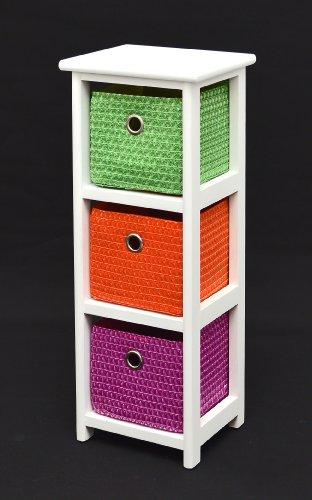 ts-ideen Kommode Nachttisch Schrank 62 cm Höhe Bad Regal Weiß mit 3 Körben in Orange Lila Grün für Kinderzimmer, Büro, Bad, Flur und Babyzimmer