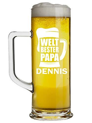 Böckling Bierglas personalisieren mit Gravur | Bester Papa der Welt | Eigenen Namen wählen | 0,5 Liter Bierkrug