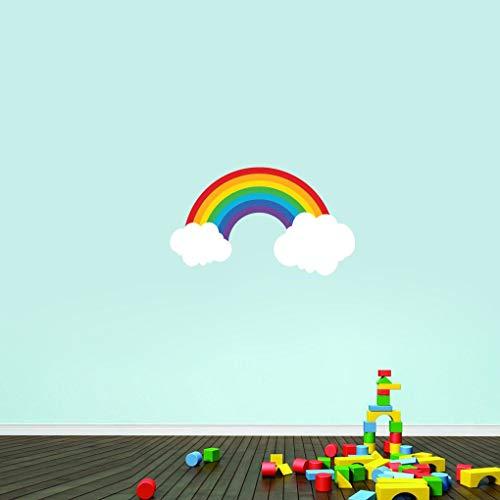 Tamengi Vinilo decorativo para pared, diseño de arco iris, para dormitorio infantil y cuarto de bebé, arcoíris con nubes extraíbles 30 pulgadas