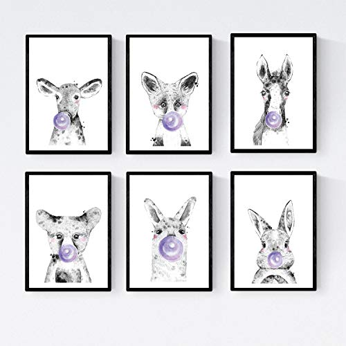 6 september poster babydieren met bubblegum. Beer paard koe konijn Fox Llama.Tamaño A4