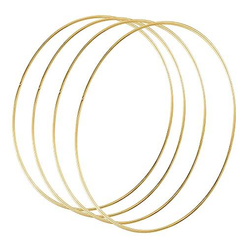 Sntieecr 4 Stück 30cm Gold Metallring Floral Hoops Ringe Kranz Makramee Ringe für Floral Hoop Kranz Hochzeit Dekor, Traumfänger und DIY Handwerk Basteln