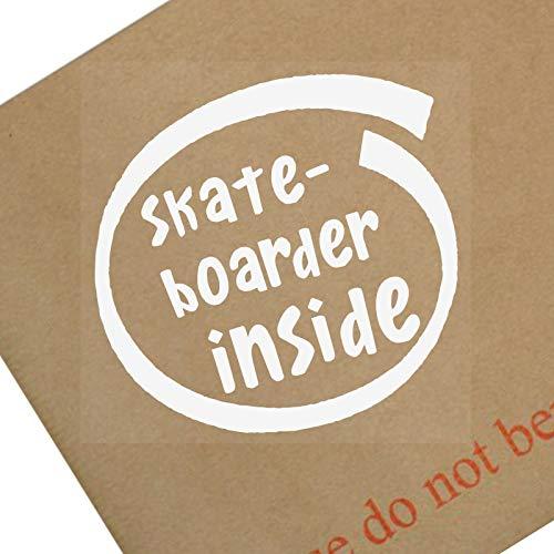 Platinum Place 1 x Skateboarder Inside-White on Clear-87 x 87 mm Fenster, Auto, Van, Aufkleber, Schild, Fahrzeug, selbstklebend, Sport, Hobby, Ramp, Grind, Ollie, Kick, Flip, Pop, Shove, It, Air