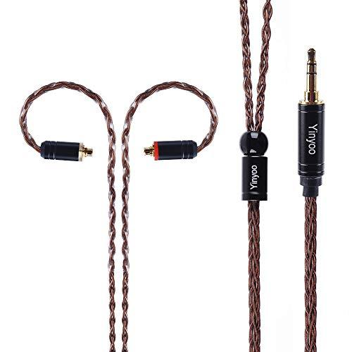 8 adriges MMCX Kabel Versilbertes Kupfer Upgrade Kopfhörerkabel, Yinyoo MMCX Ersatzkopfhörerkabel mit 3,5mm Stecker für Shure 215 SE846 Tin Audio T2 T3 Yinyoo D2B4