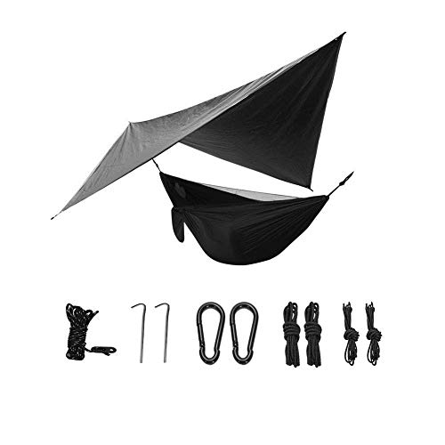 Ruixf 270cm X 140cm Hammock with Mosquito Net & 360cm X 290cm Hammock Tarp - Ultralight Parachute Nylon 300kg, Windproof Rainproof and UV Resistant